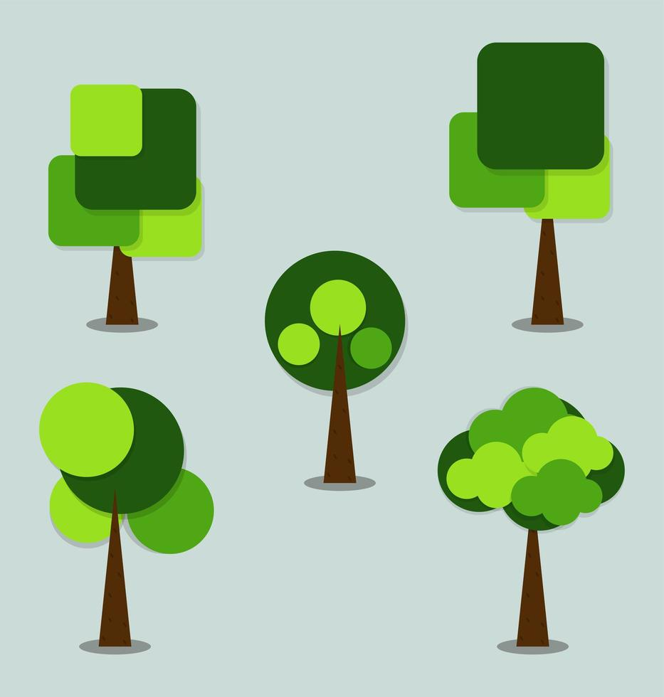 Simple Green Circle and Square Tree Icons vector