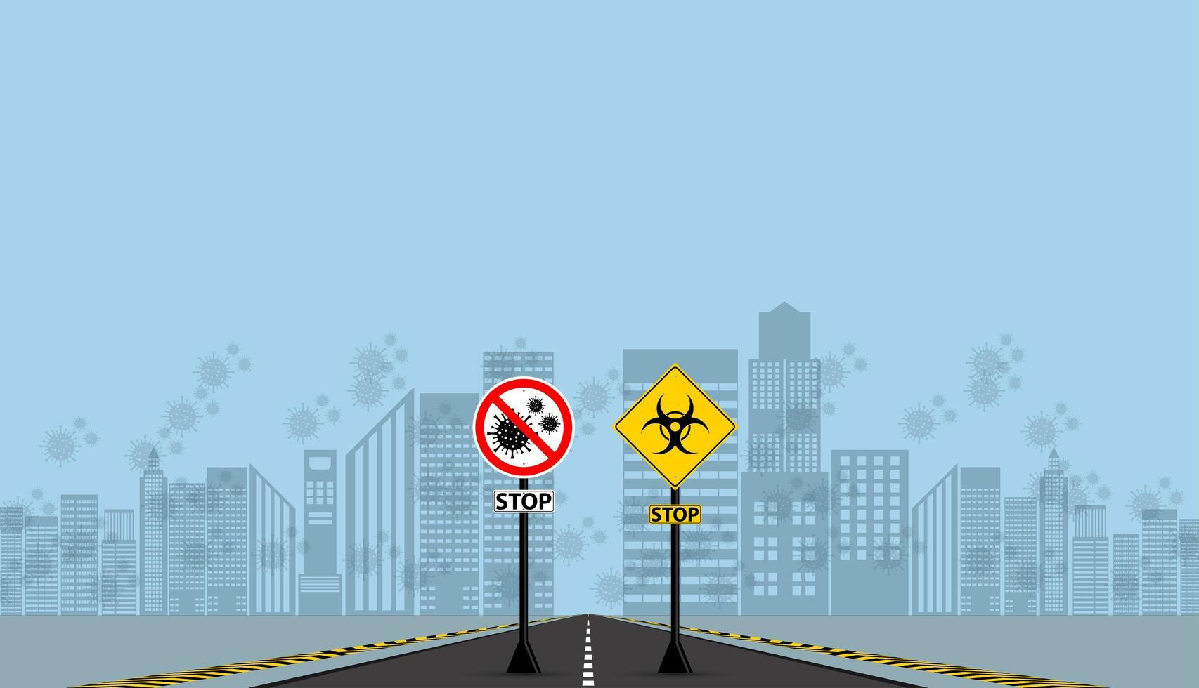 Warning and Hazard Coronavirus Do Not Pass Signs vector