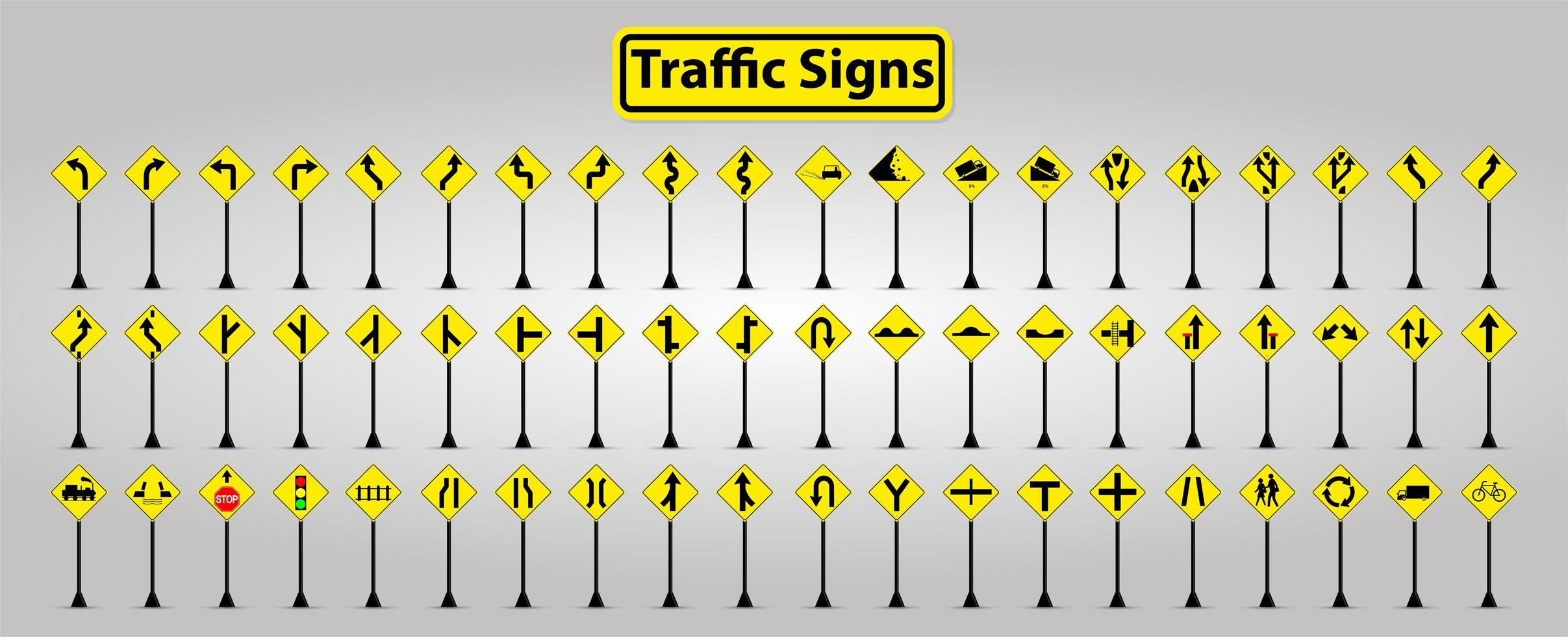 Yellow and Black Symbol Traffic Signs on Posts Set vector