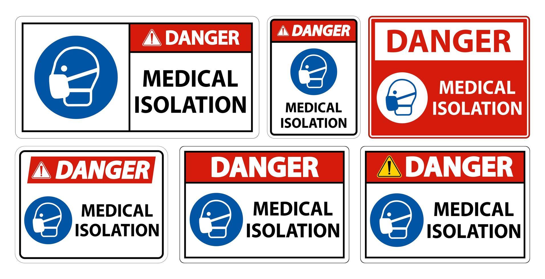 insieme di segno medico isolato pericolo vettore