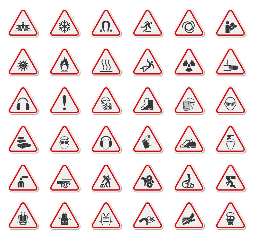 Warning Sign Set with Icons in Red Outlined Triangle vector