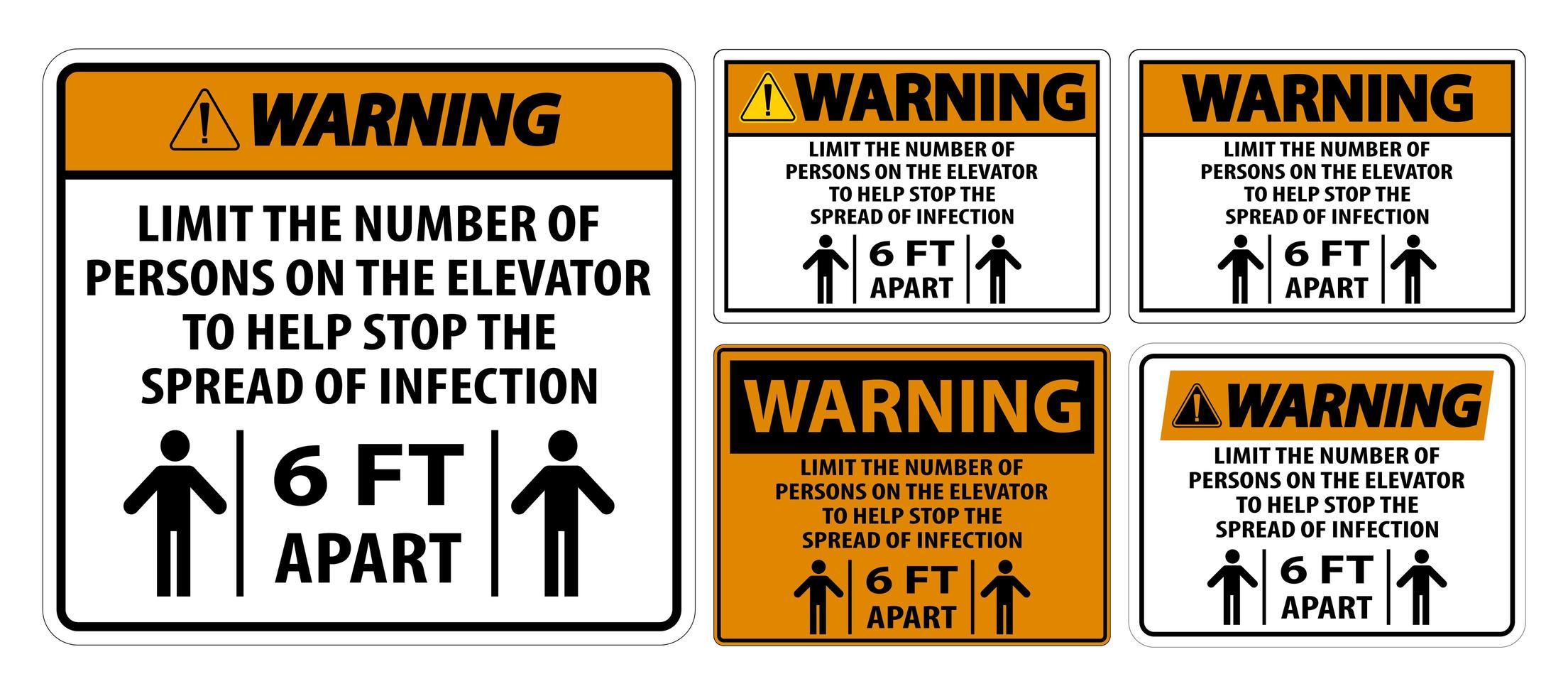 Warning Elevator Physical Distancing Sign Set vector