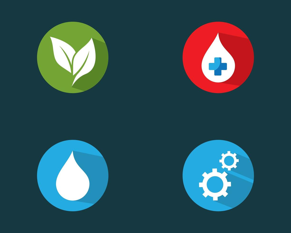 Circular logo set including leaves and gears icons vector