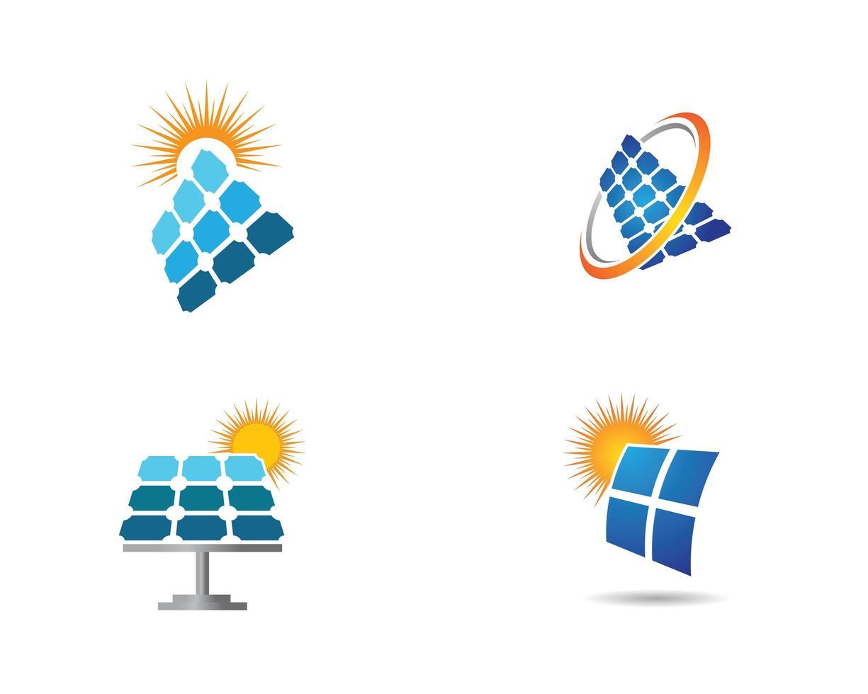 Solar panels with sun logo set vector