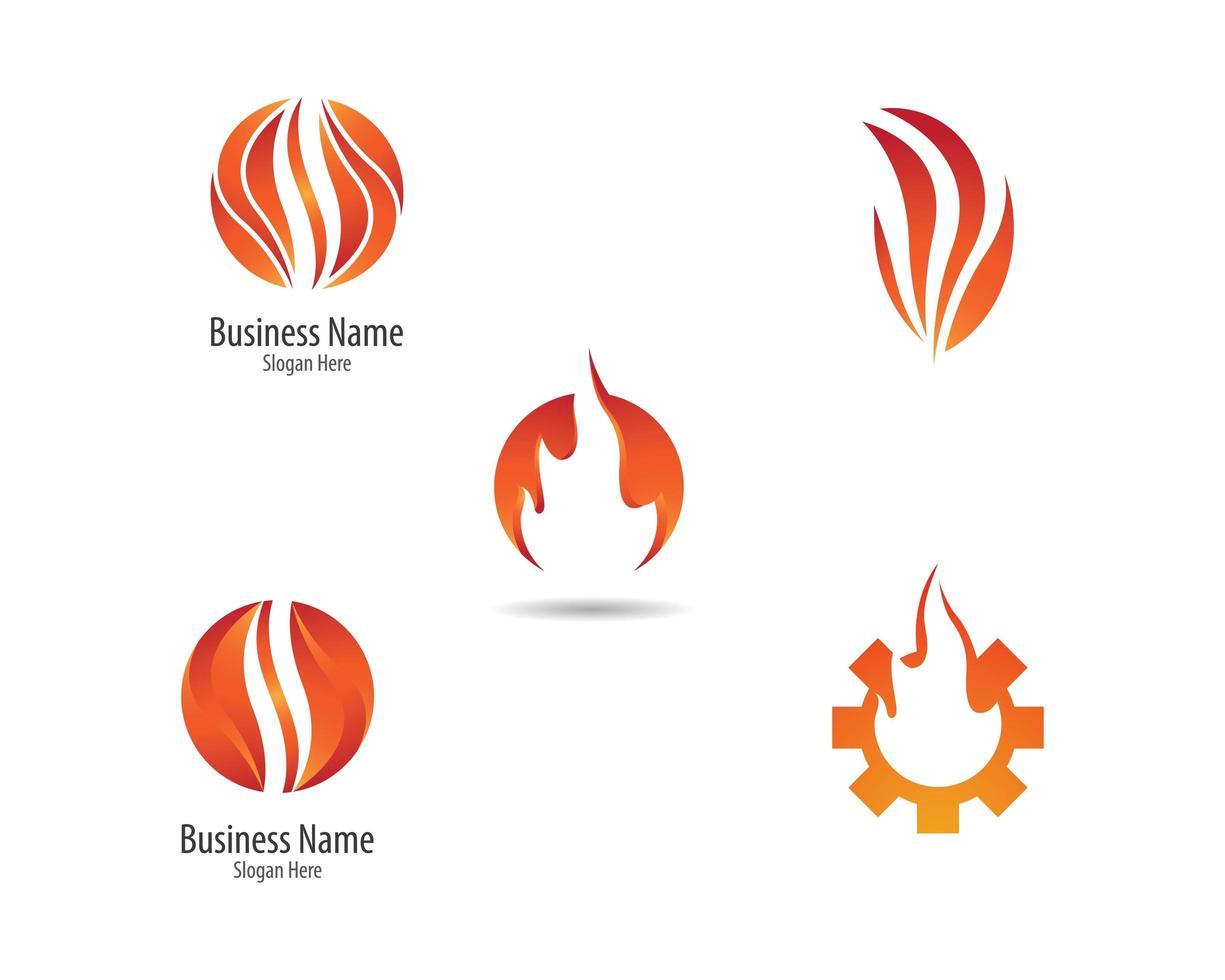 gradiente fuego llama logo conjunto vector