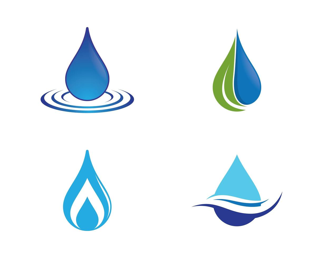 Blue and green water drop icon set vector