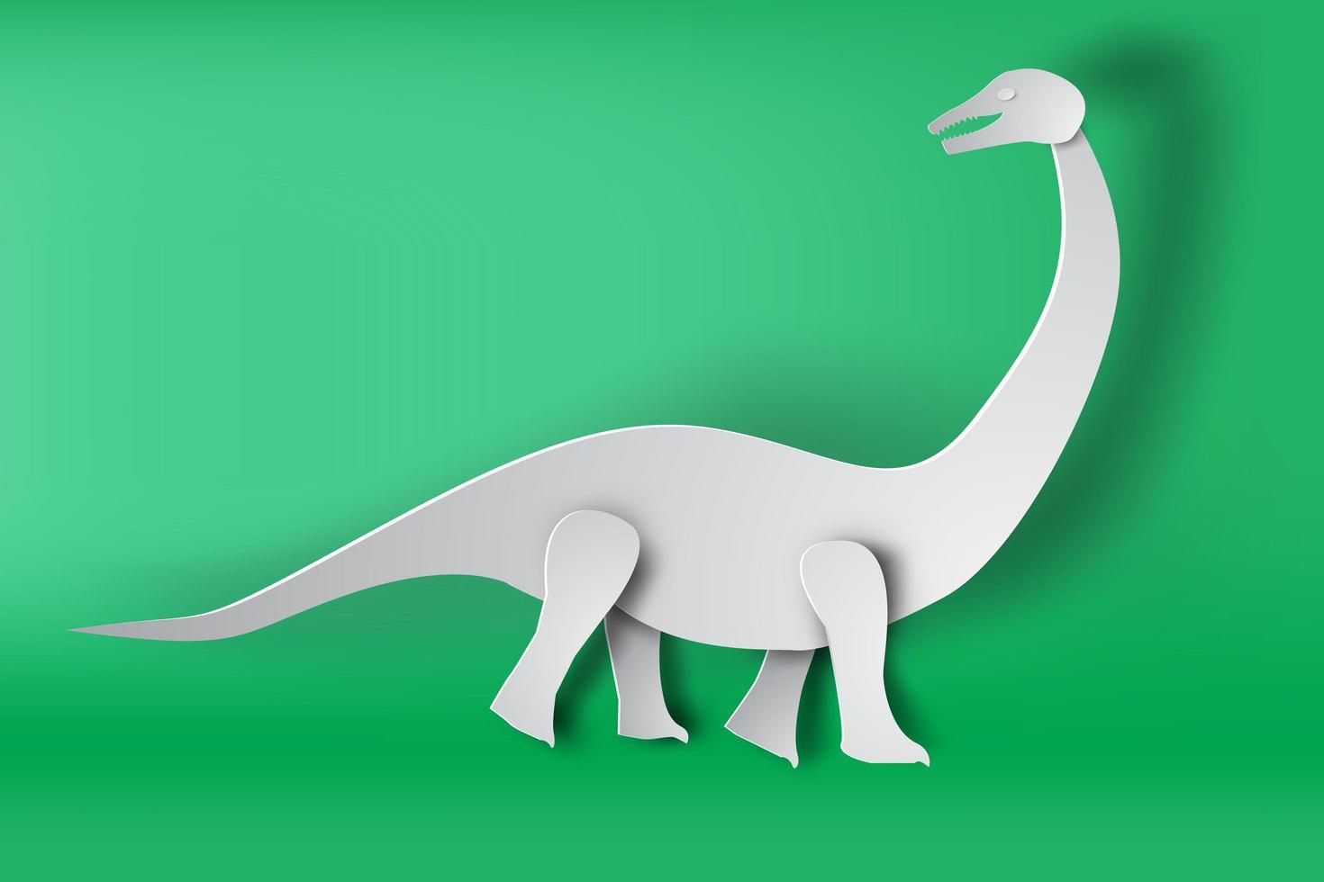 Paper Art Apatosaurus Dinosaur  vector