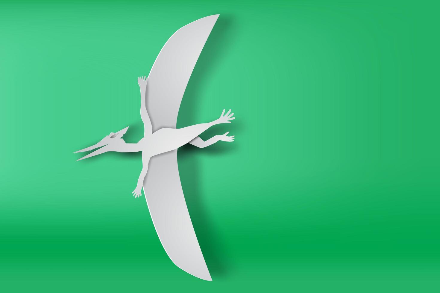 Paper Art Pteranodon Dinosaur  vector