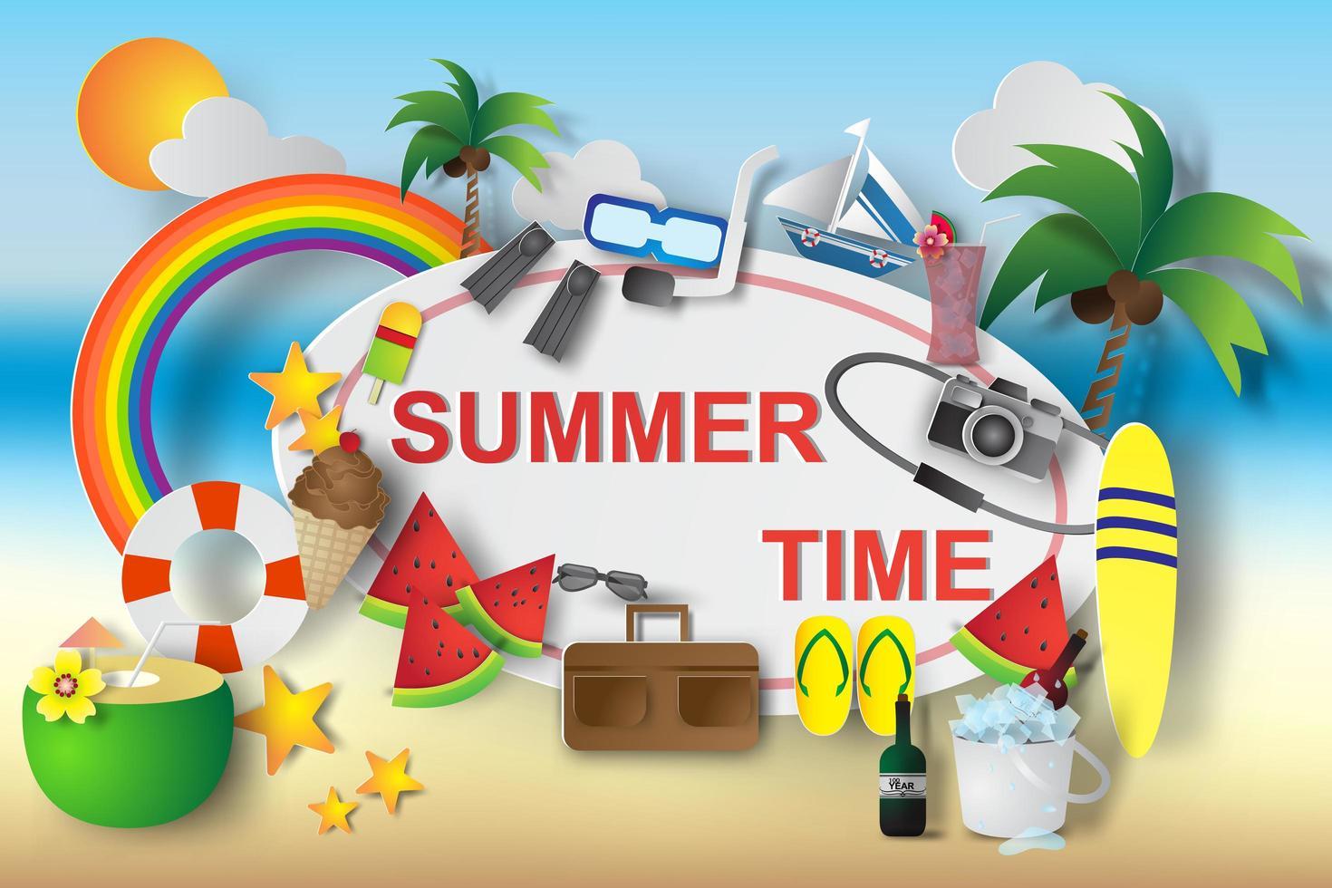 Paper Art Summer Time Design Elements  vector
