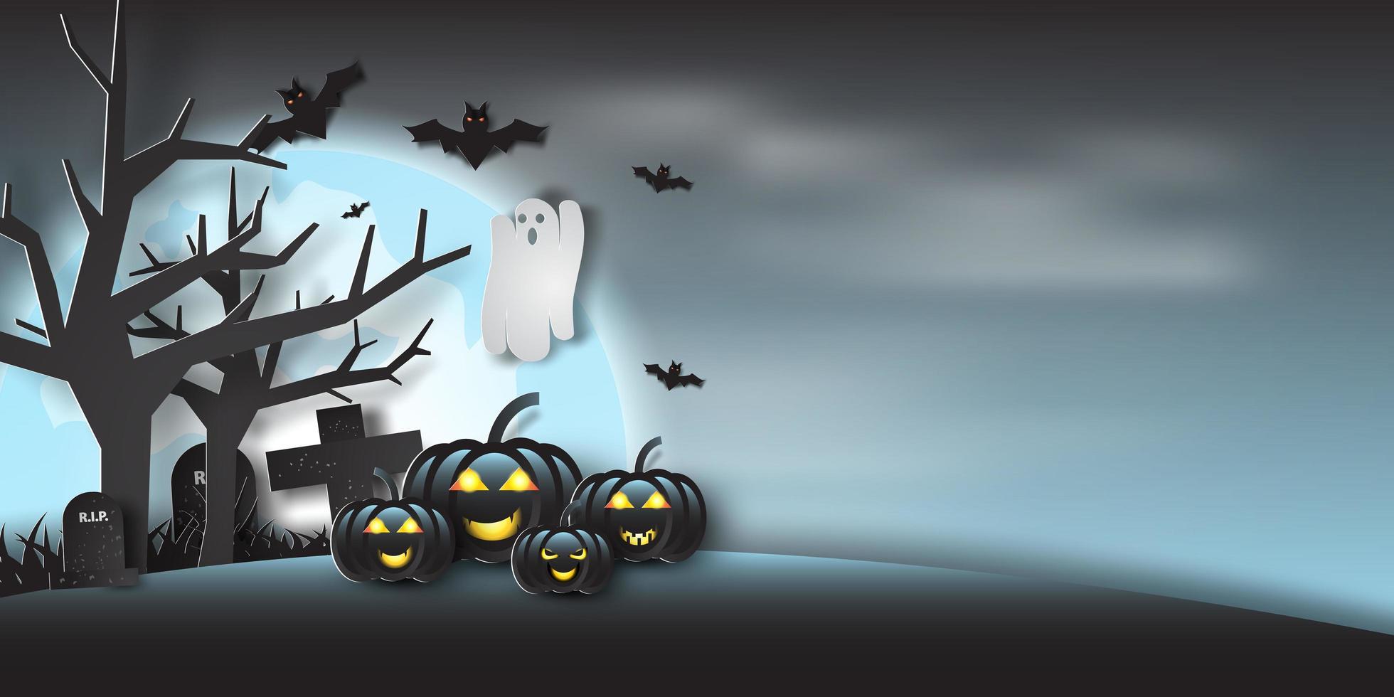 Paper Art Halloween Ghosts and Moon Design vector