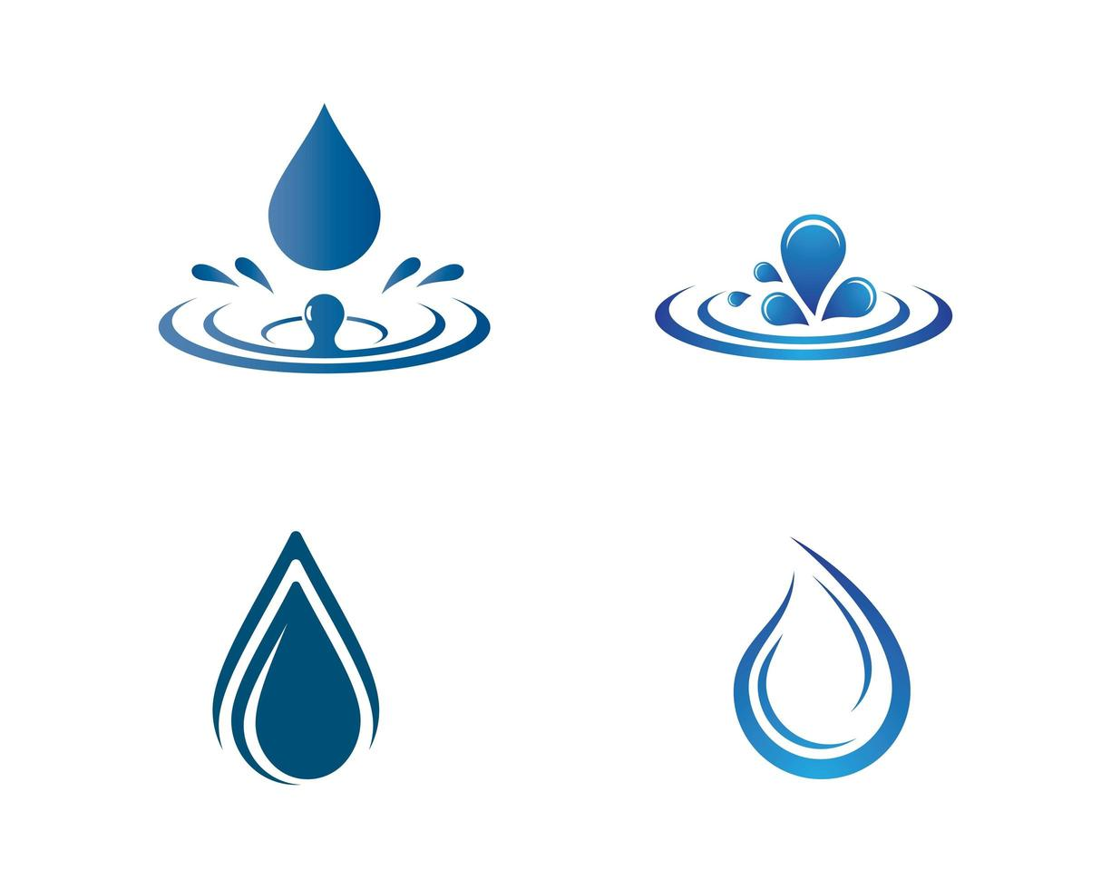 Blue water drop and splash icon set vector