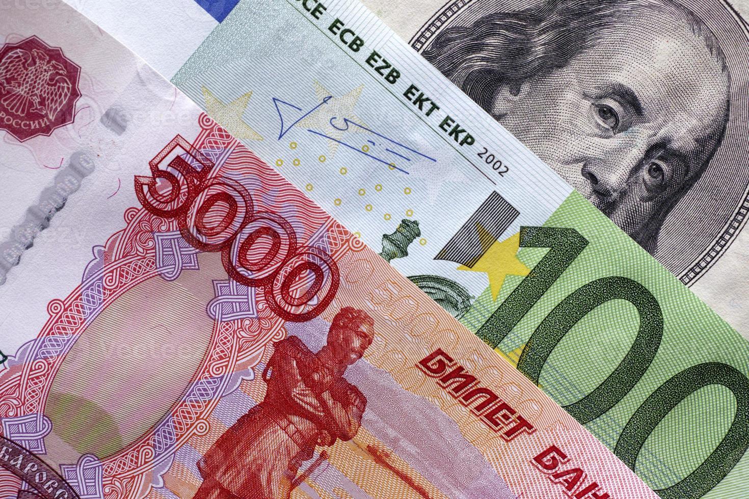 rublos, euros y dólares foto