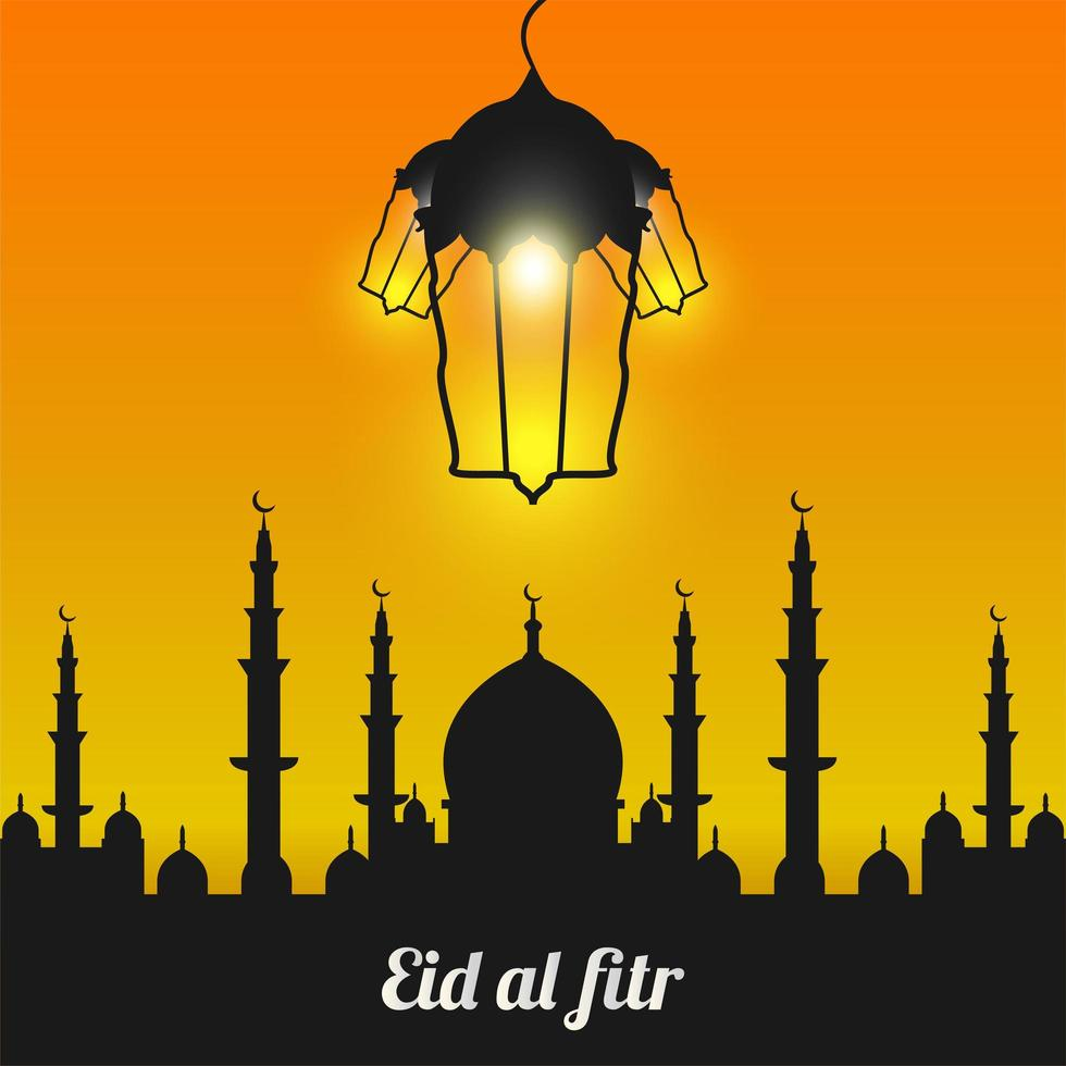 Eid Al-Fitr with Black Mosque Silhouette vector