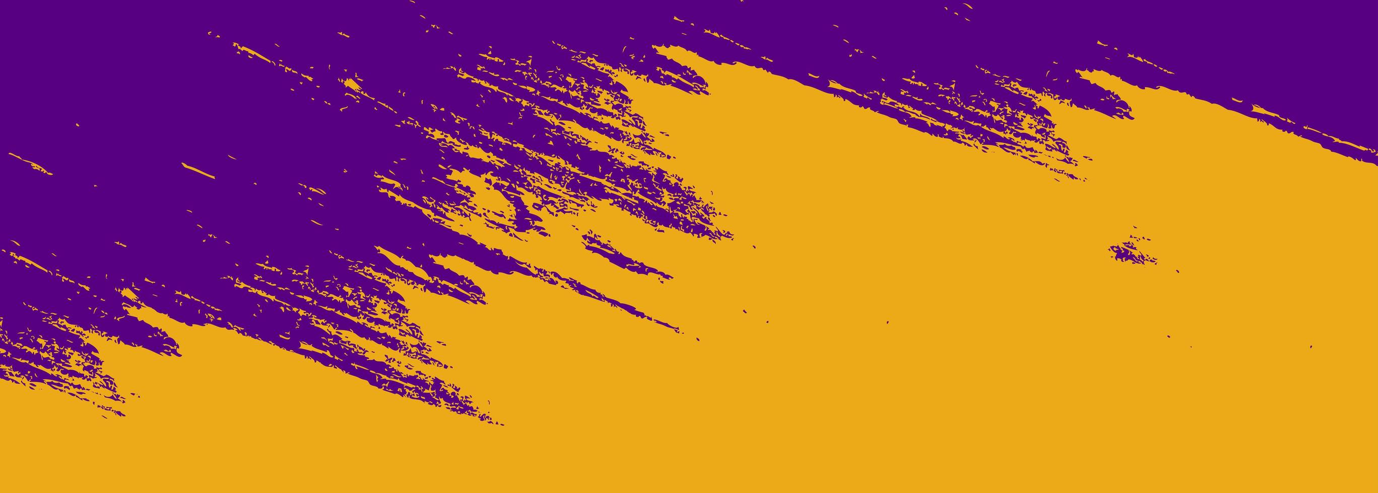 Abstract orange yellow and purple brush watercolor banner vector