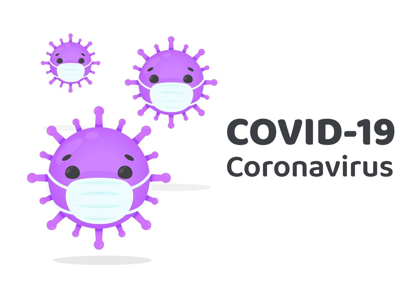 COVID-19 Virus Cells Wearing Masks vector