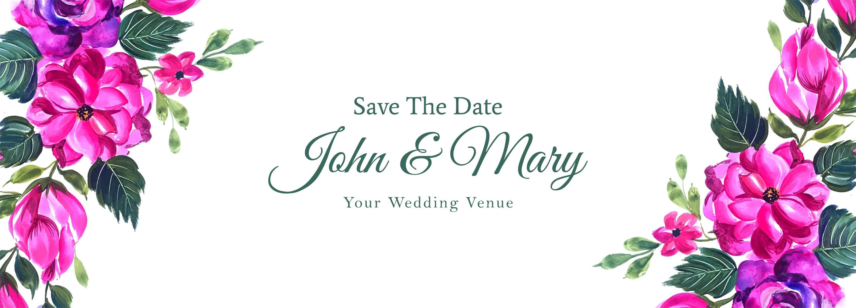 Decorative Pink Save the Date Wedding Banner  vector