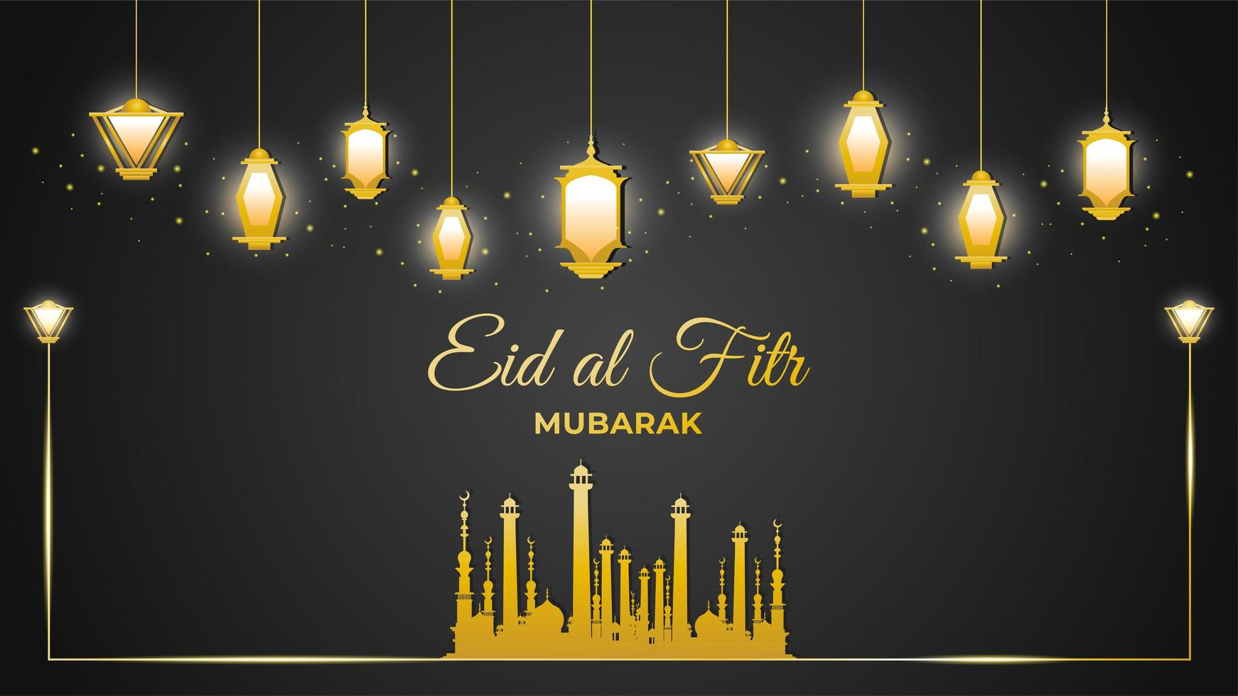 Eid Al-Fitr Mosque and Gold Lanterns on Black vector