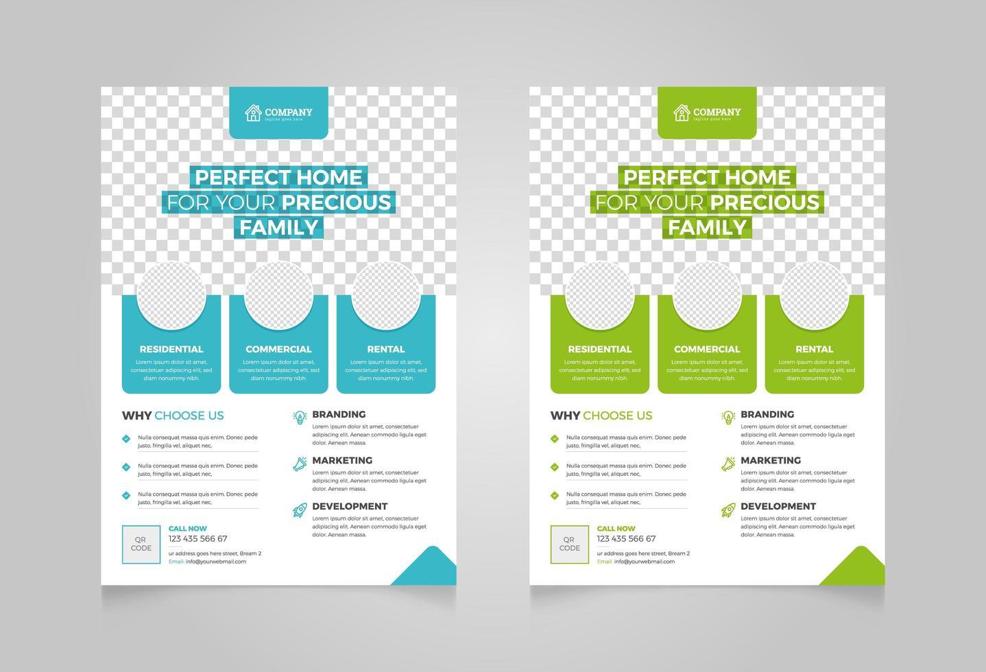 Modern Real Estate Flyer Design Set vector
