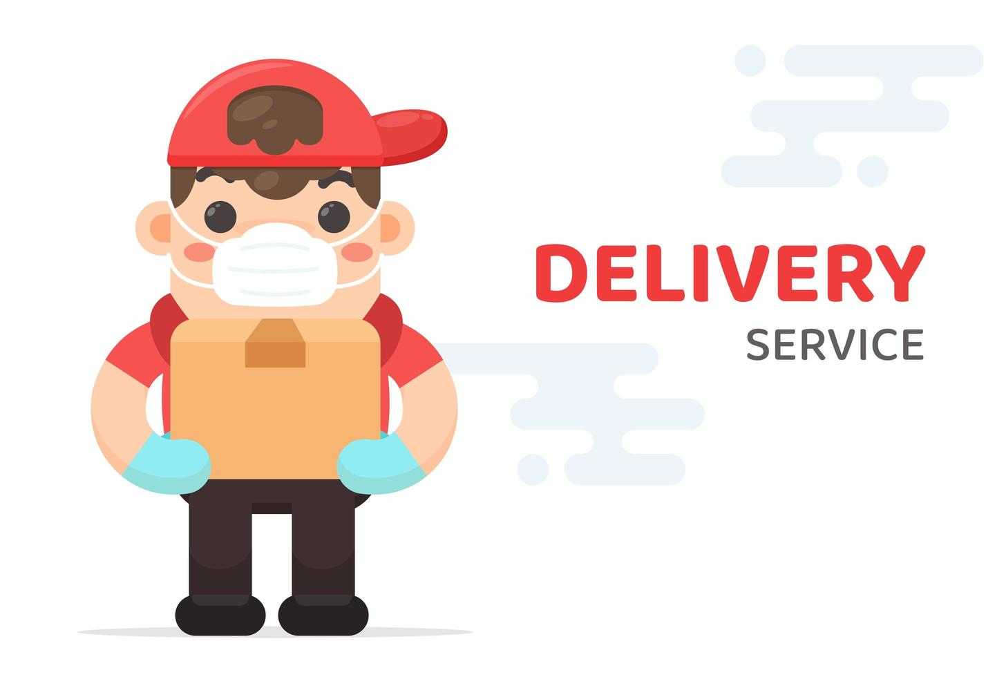 Delivery Man Carrying Box and Wearing Mask vector