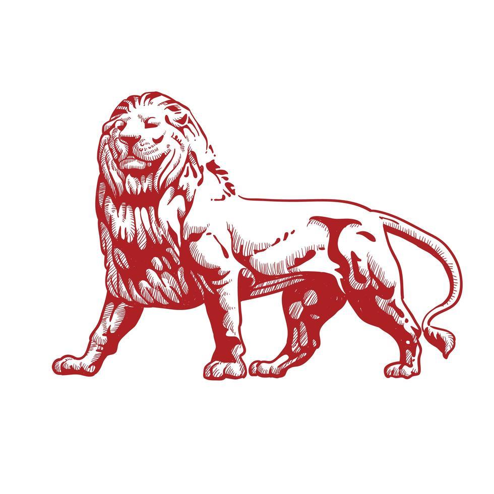 diseño de león de arte lineal vector
