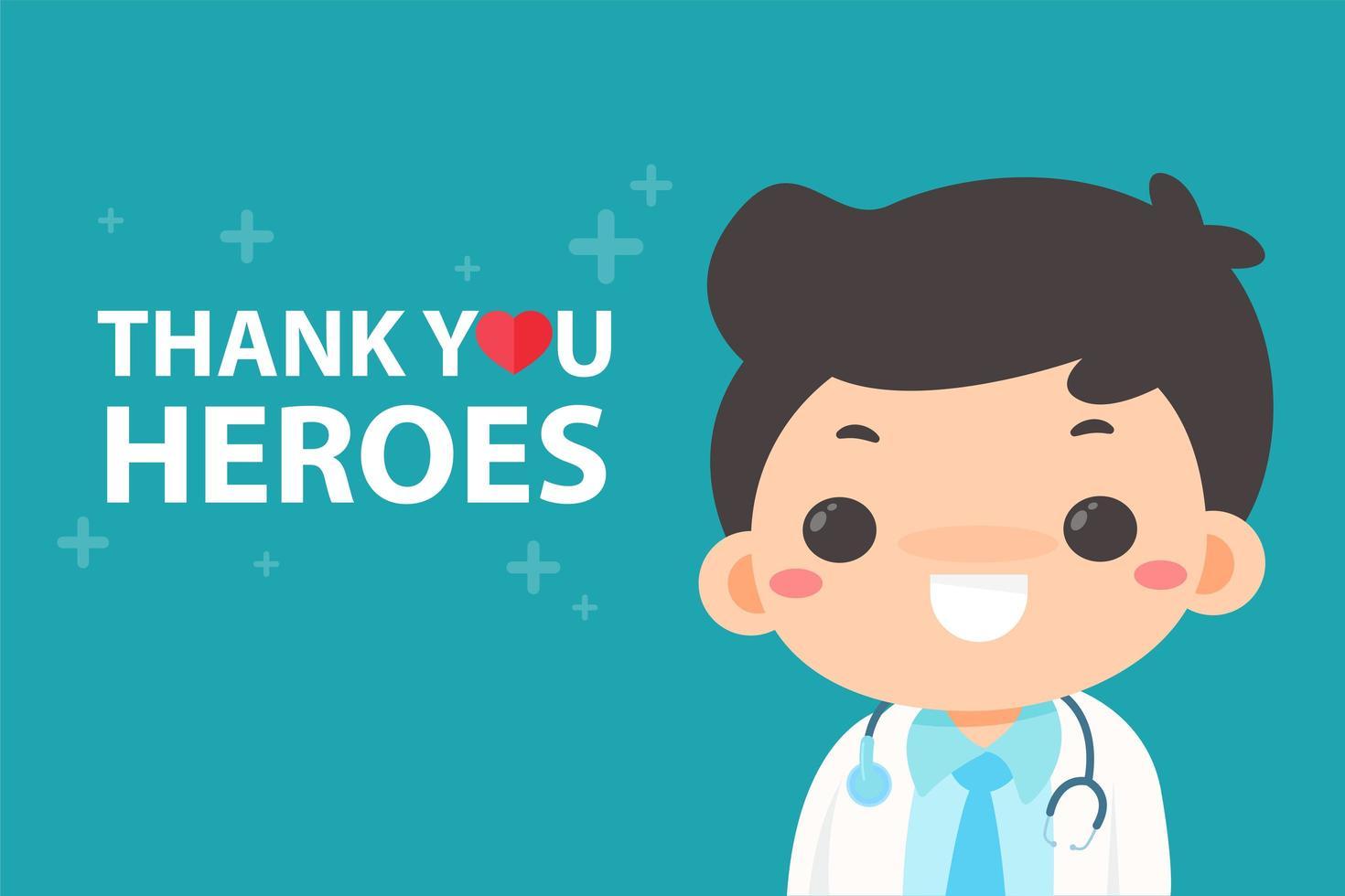"""doctor feliz con """"gracias héroes"""" vector"""
