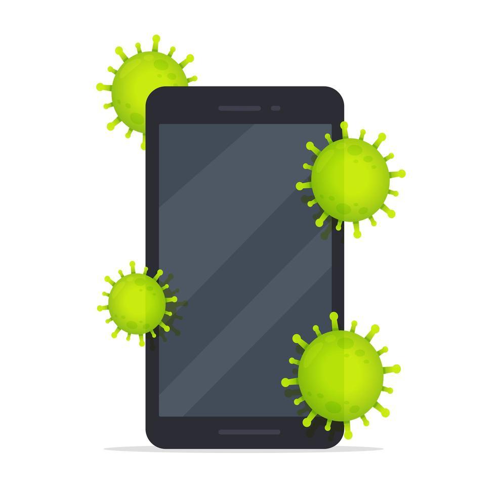 Covid-19 se cachant sur un téléphone mobile vecteur