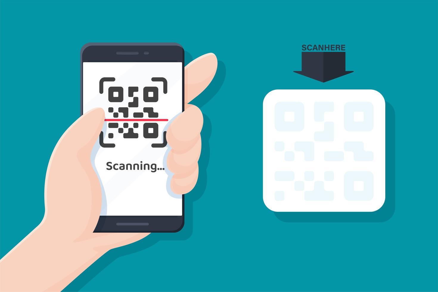 Mobile Phone Scanning QR Code vector