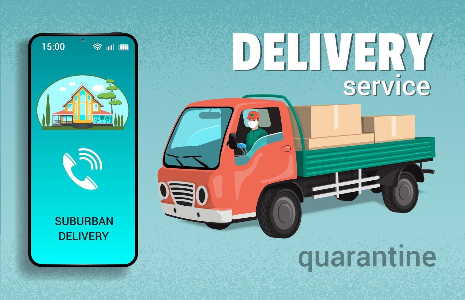 Man in Truck for Out of Town Delivery Service vector
