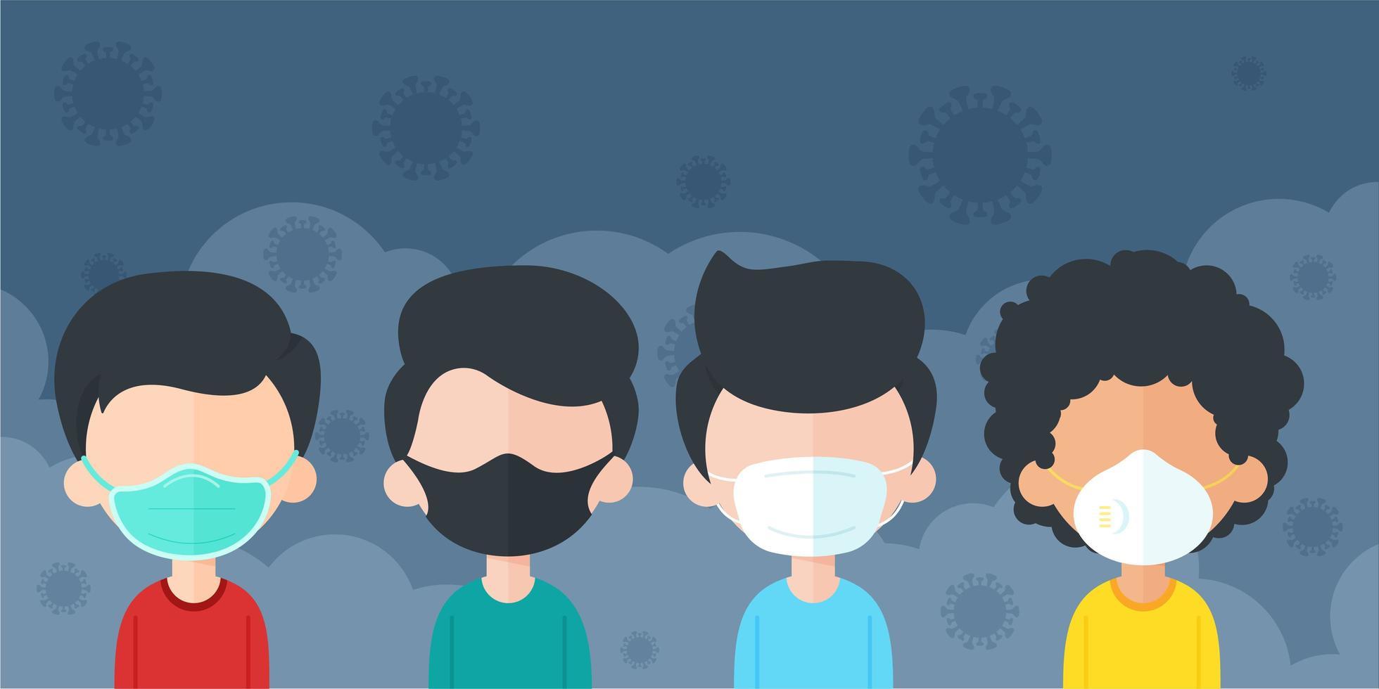 uomini che indossano maschere per prevenire polvere e virus vettore