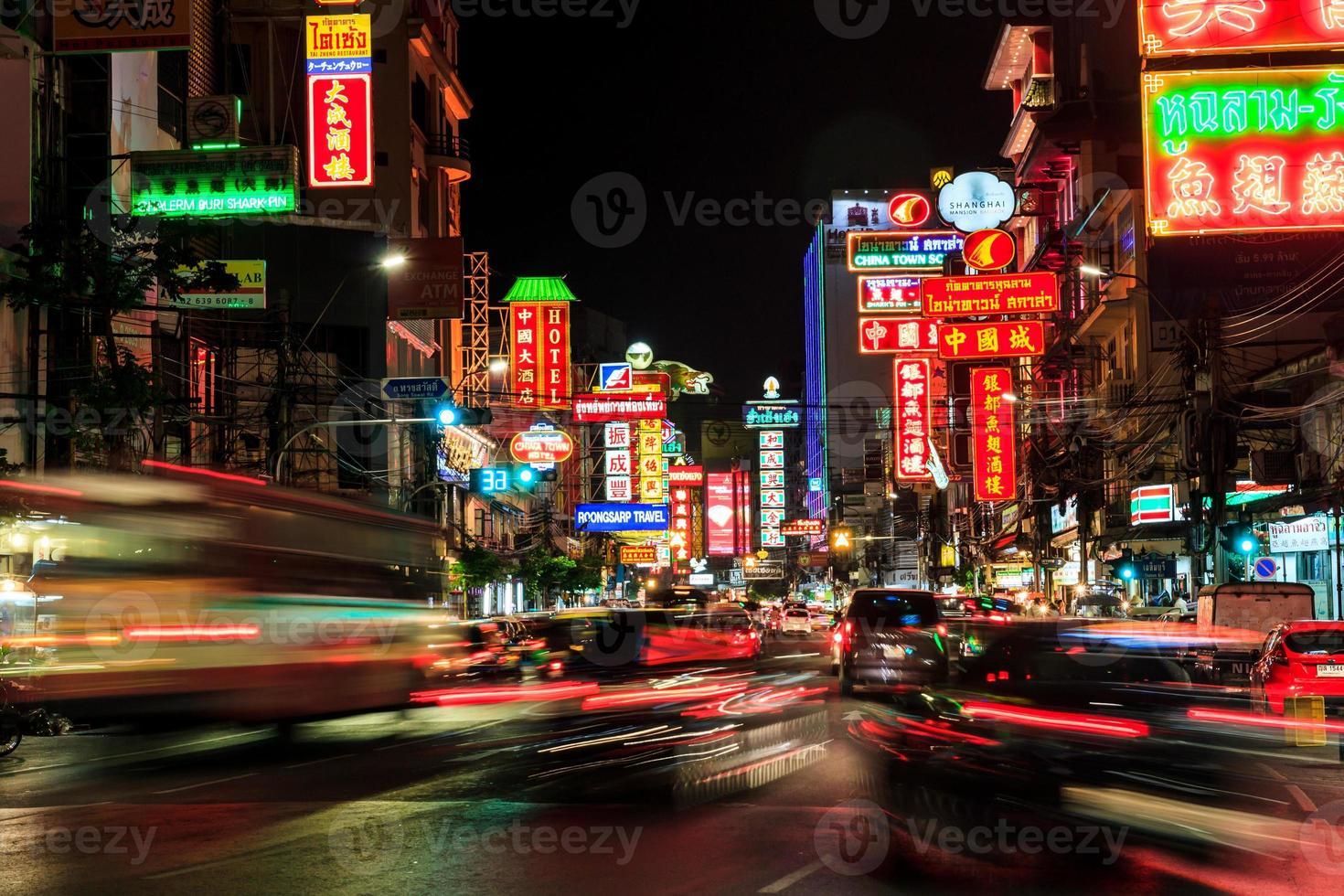 China Town At Night Long Exposure Of Car Light Stock Photo
