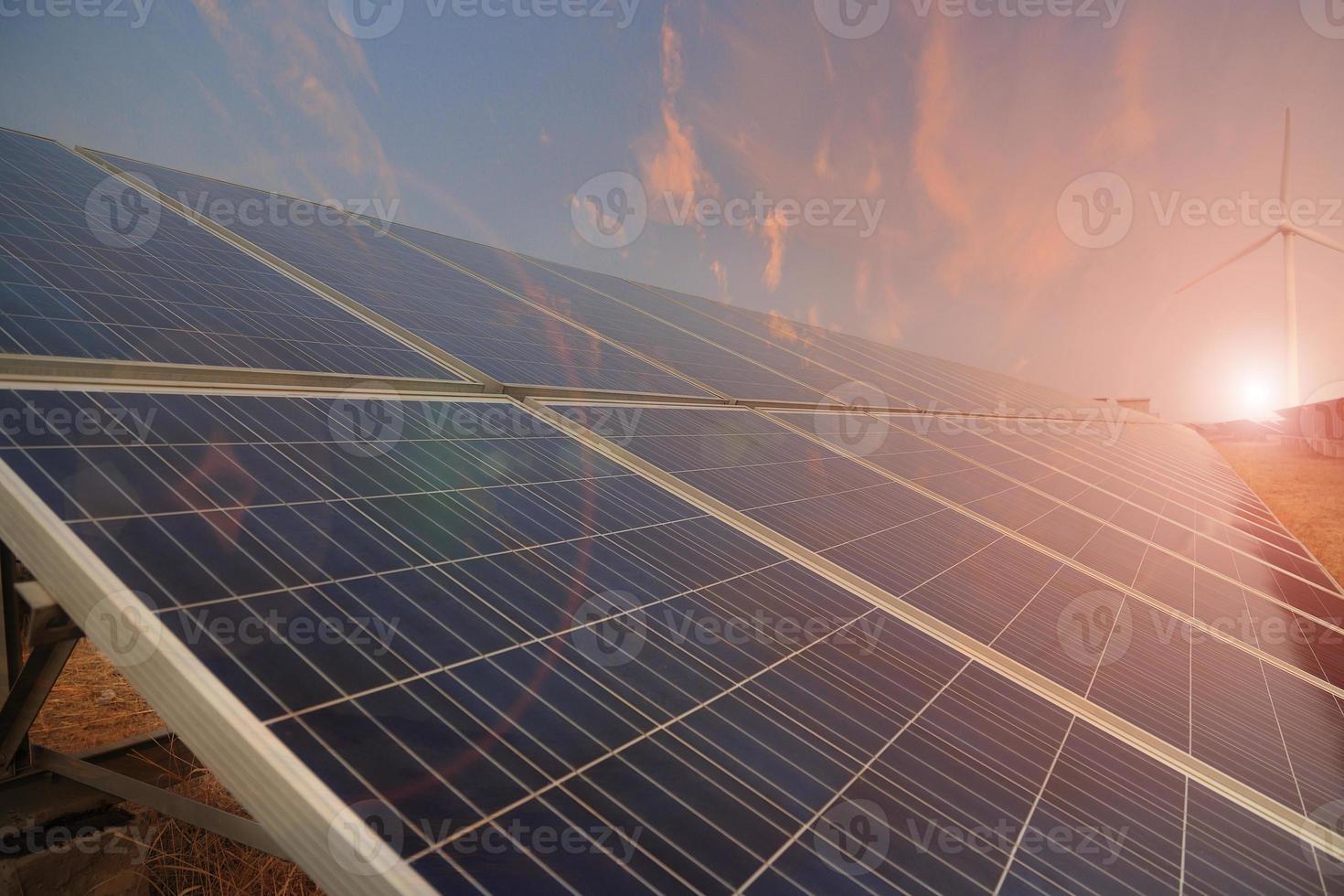 Power plant using renewable solar energy with sun photo