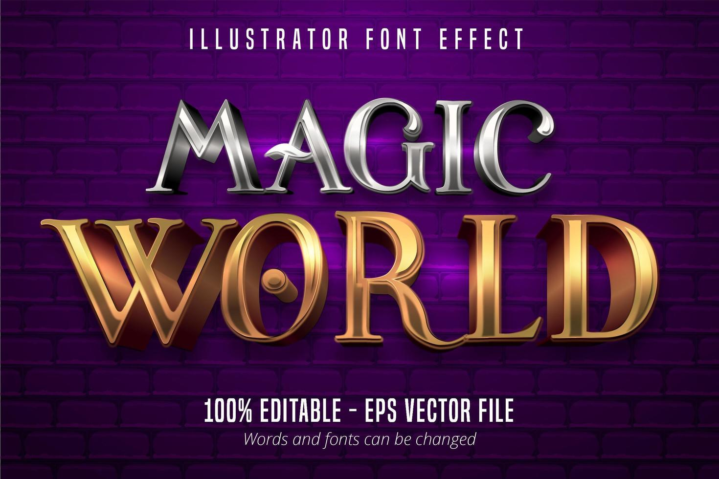 Magic World text, 3d gold and silver metallic style editable font effect vector