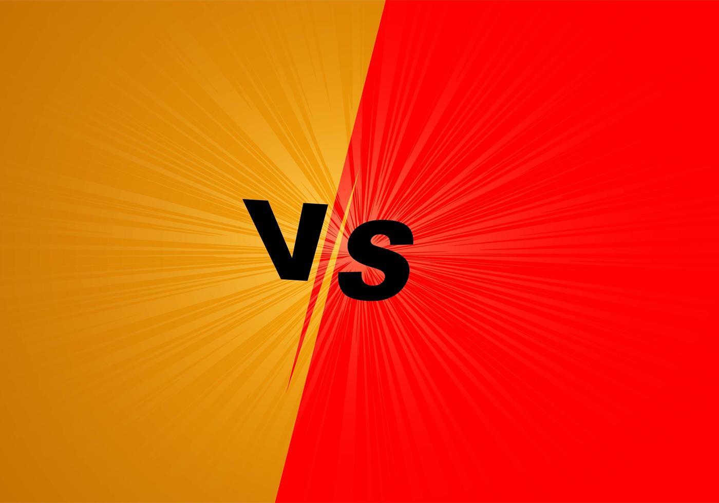 versus '' vs '' fondo de rayos de luz amarilla y roja vector