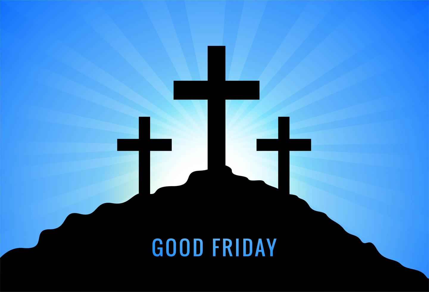 Greeting for Good Friday with Three Crosses Sunset Background vector