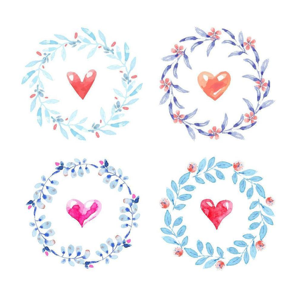Set of Floral Wreaths with Hearts Inside vector