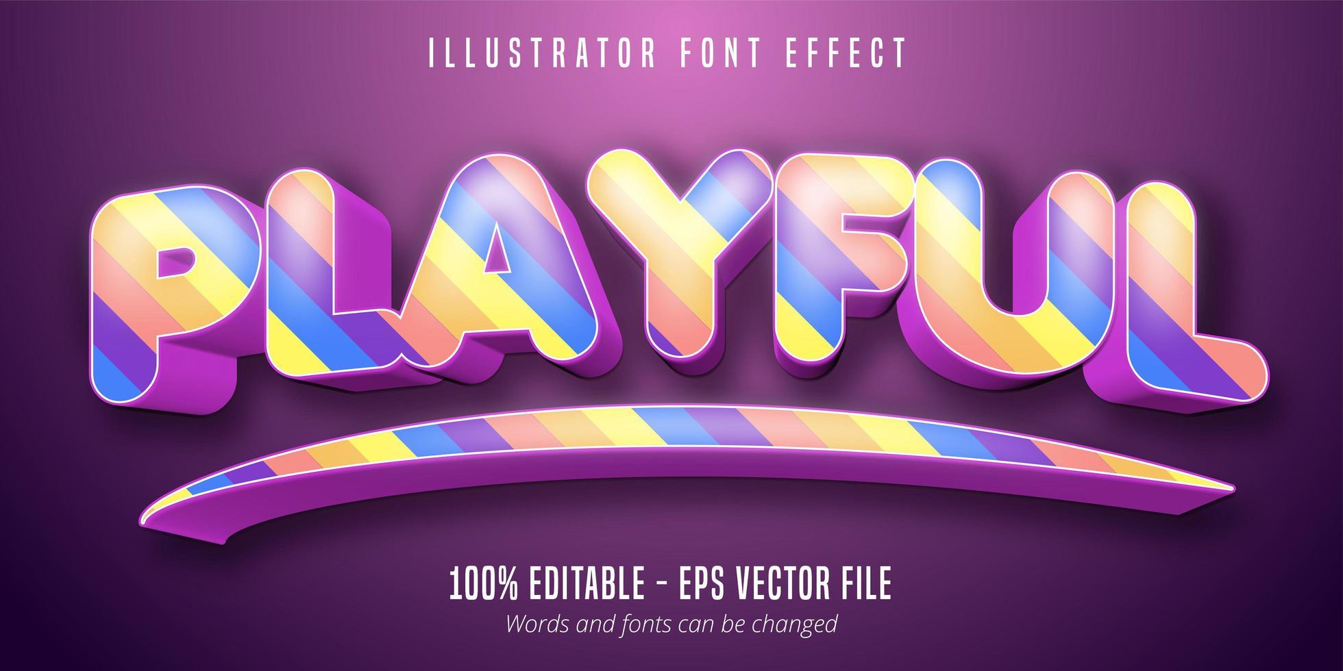 Playful text, 3d colorful editable font effect vector