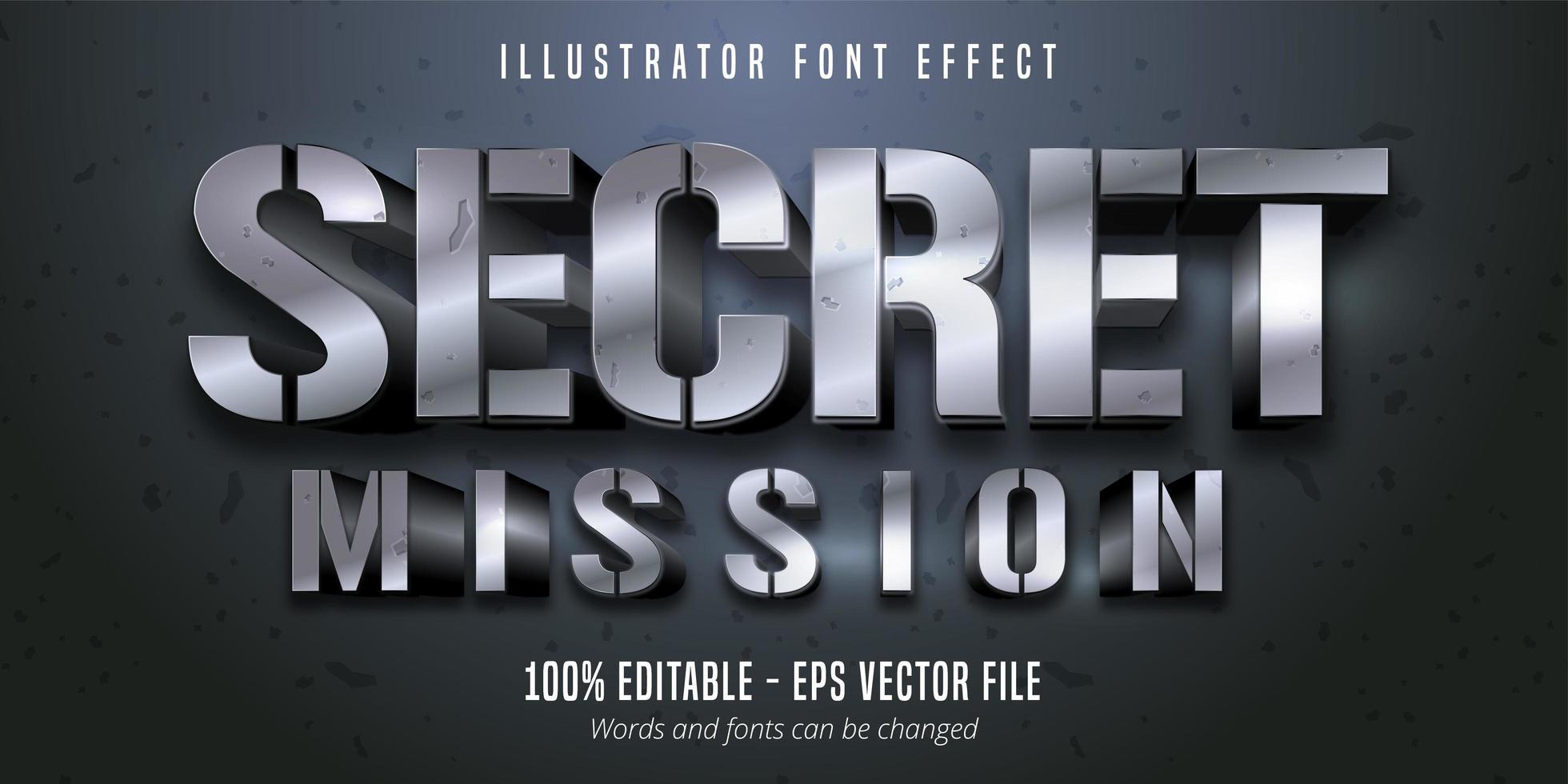testo di missione segreta, effetto carattere modificabile in stile metallico argento 3d vettore