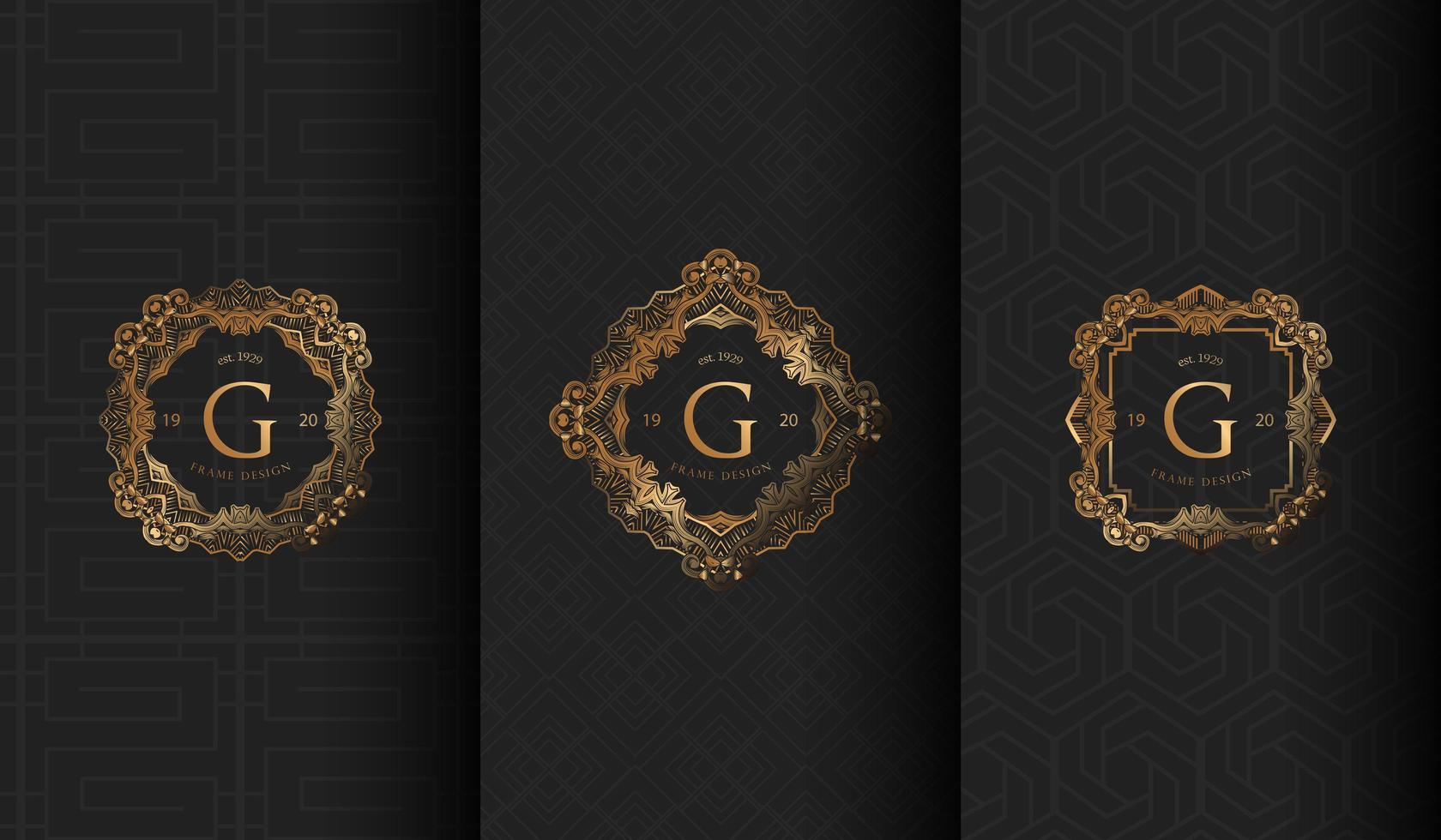 conjunto de logotipos luxuosos de cinza escuro g vetor