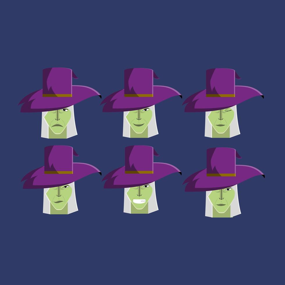 Set of Halloween Witches with Various Expressions vector