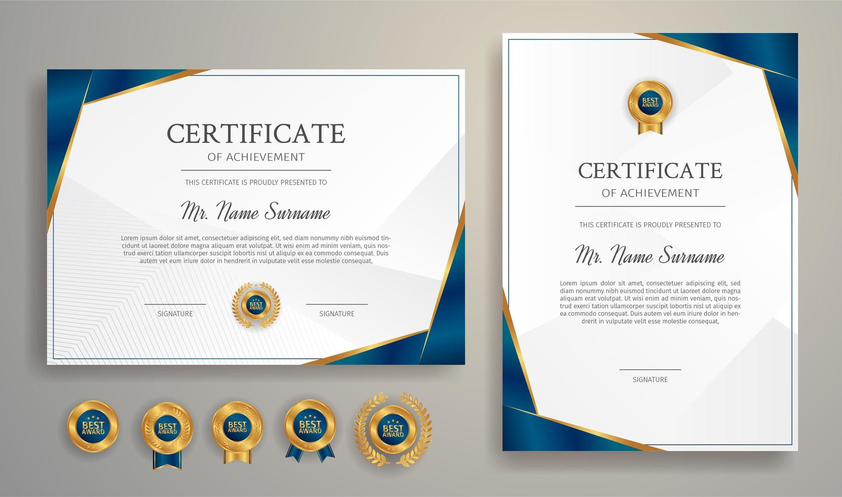 Blue certificate of appreciation vector