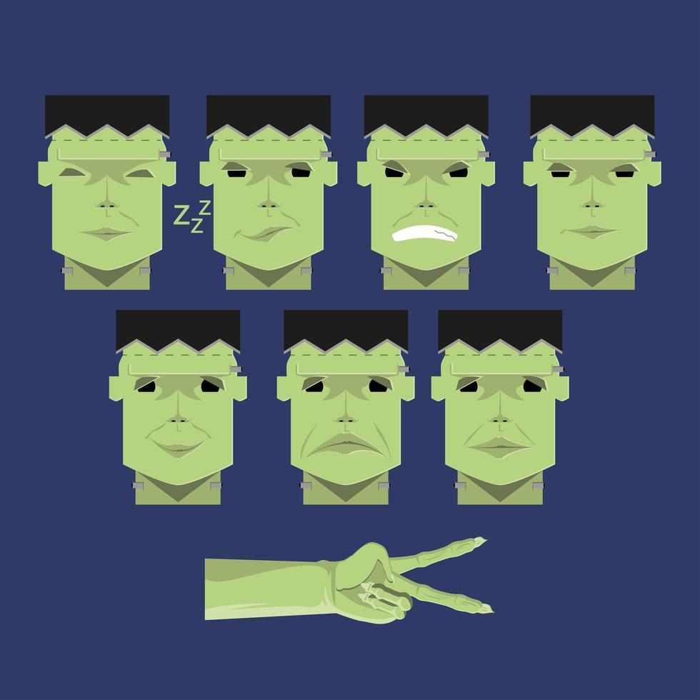 Set of Green Frankenstein Heads vector