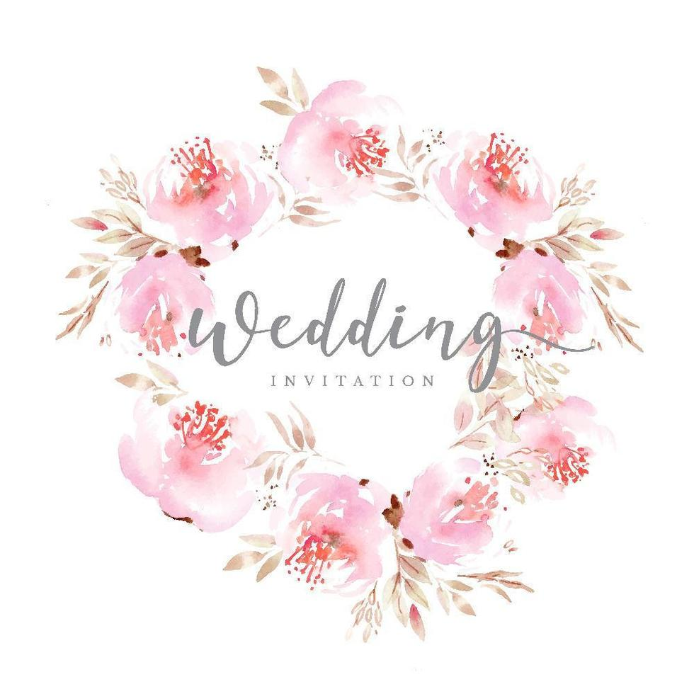 Pink Floral Wedding Wreath vector