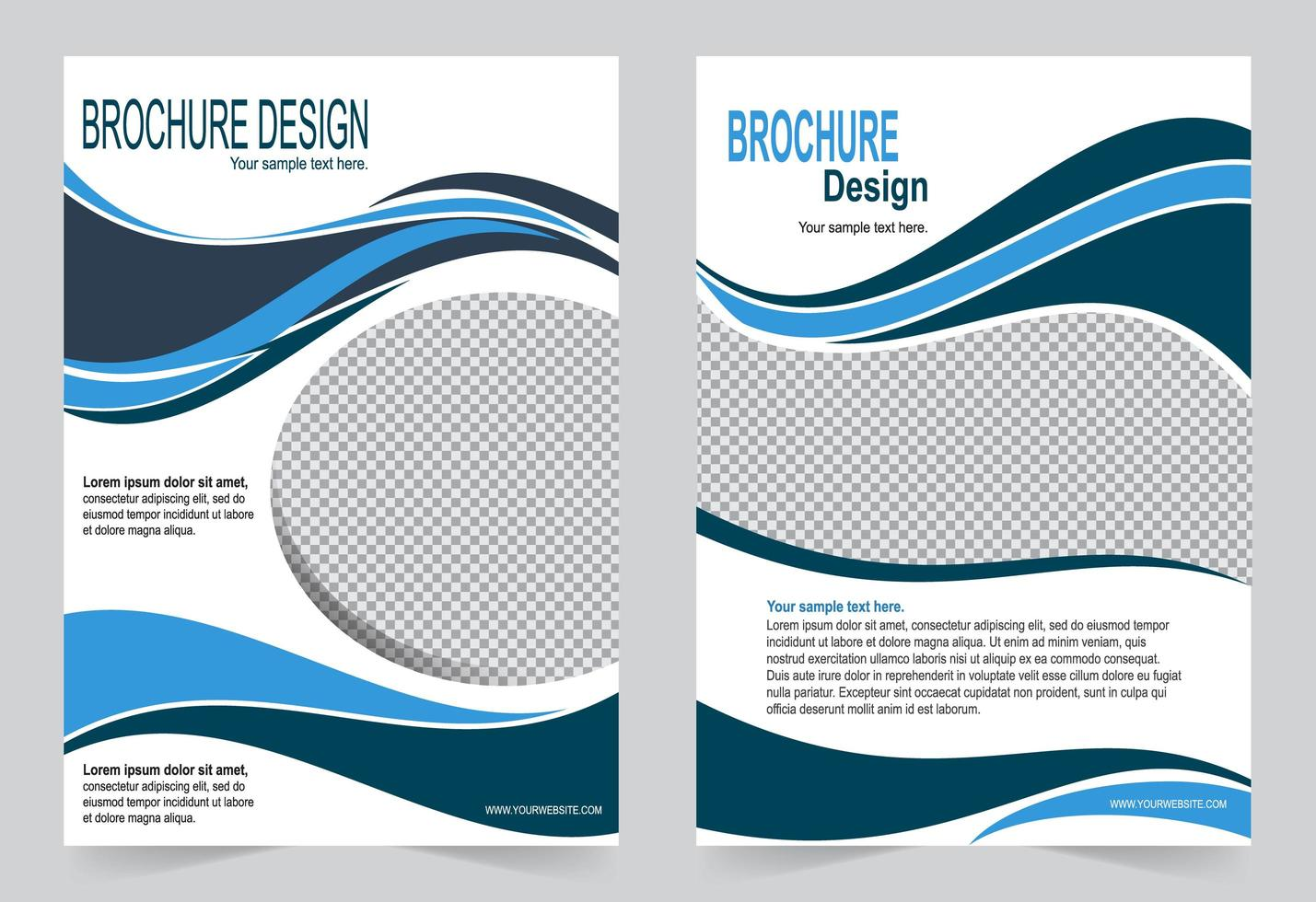Blue wave cover set vector