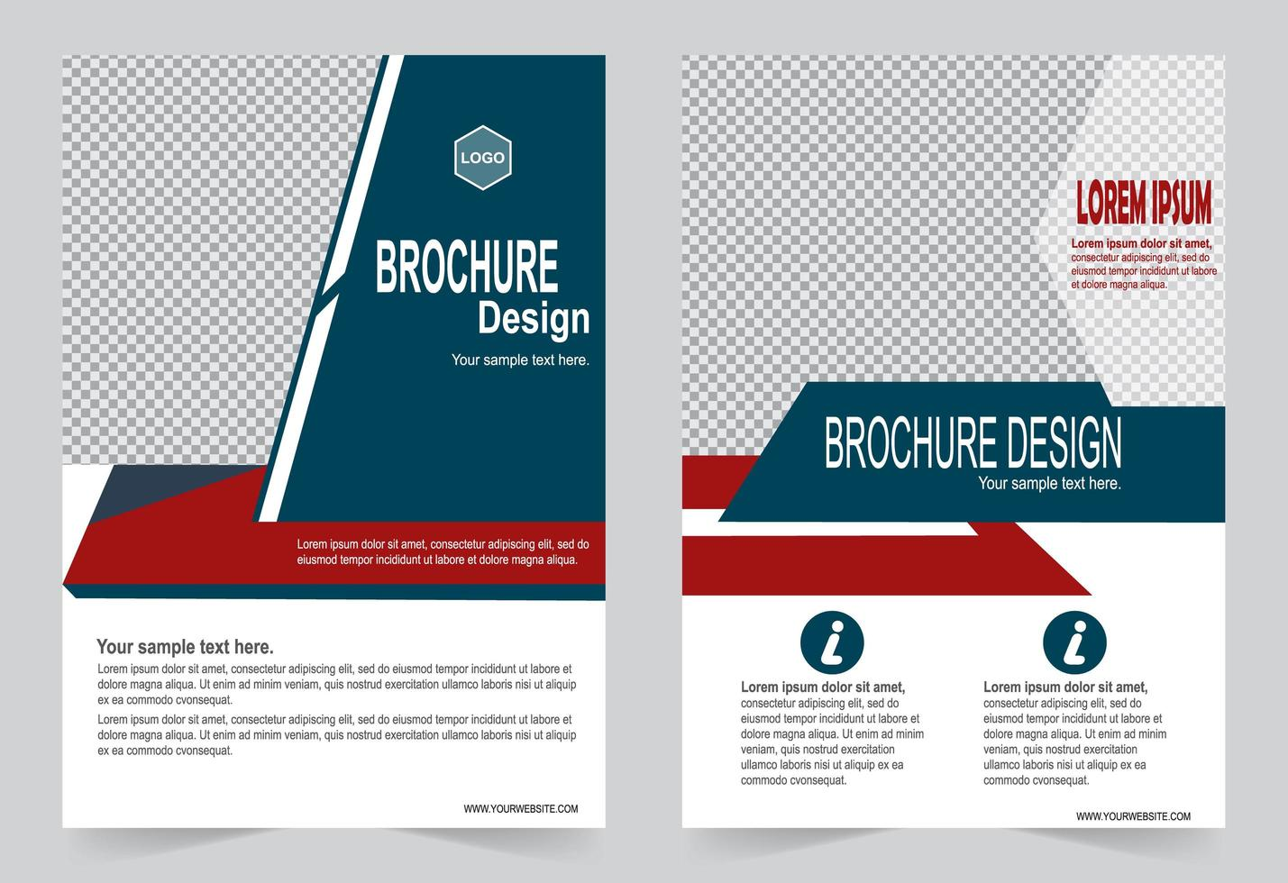 Red and blue template with image space vector