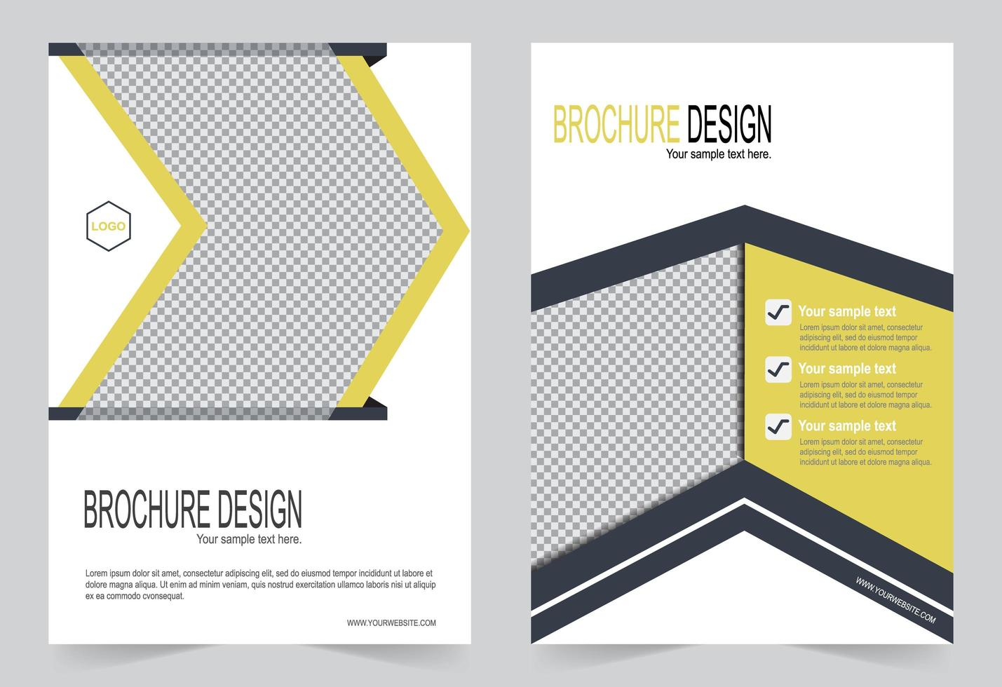 Flyer design yellow and gray template vector