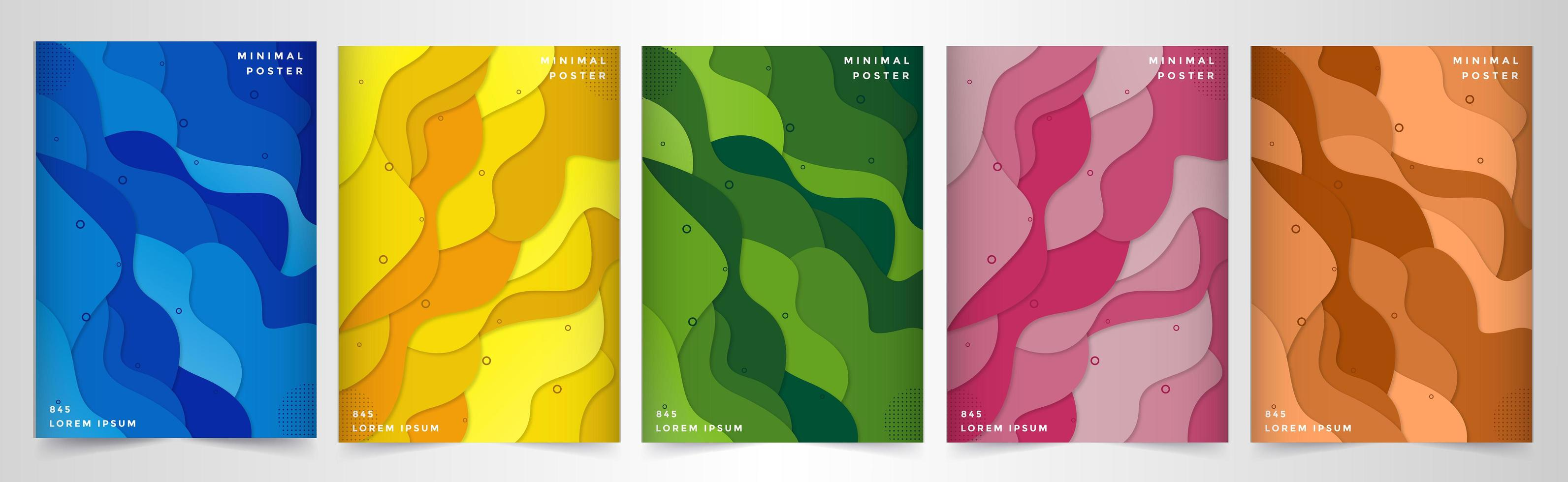Paper cut style layered wave shape poster set vector