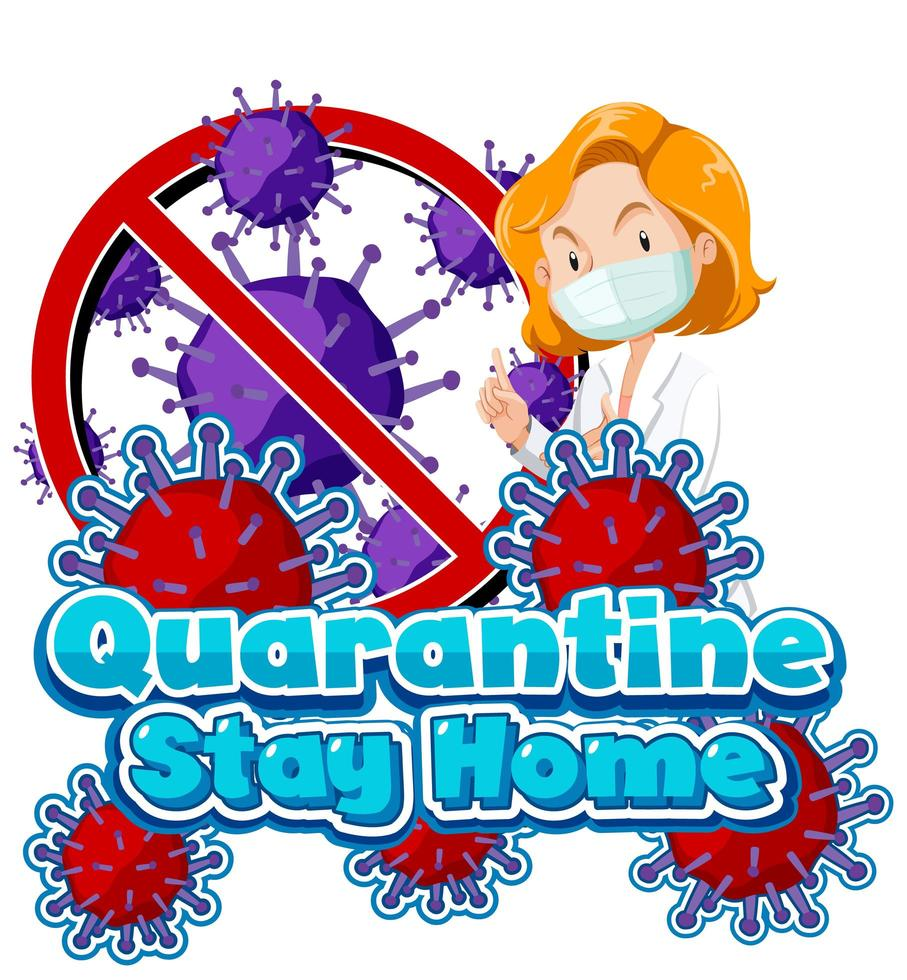 affiche de séjour de quarantaine à la maison avec une femme médecin vecteur