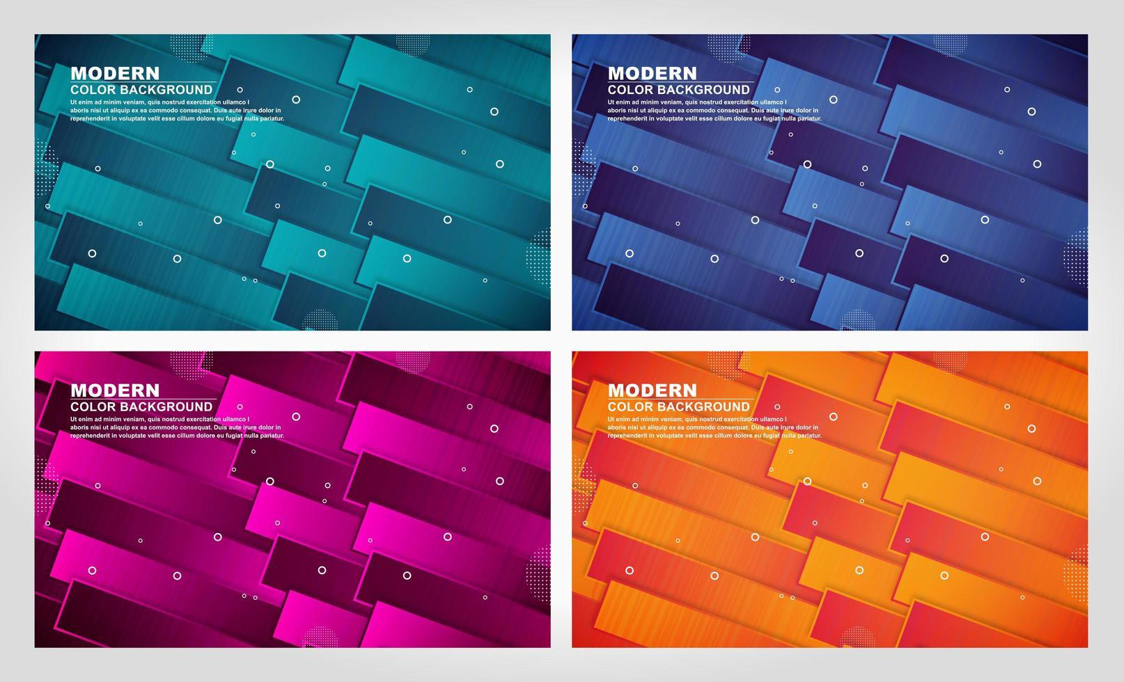 conjunto de diseño de tiras en capas de colores vector