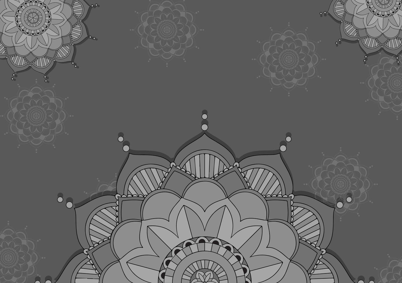 Mandala pattern design in gray color vector