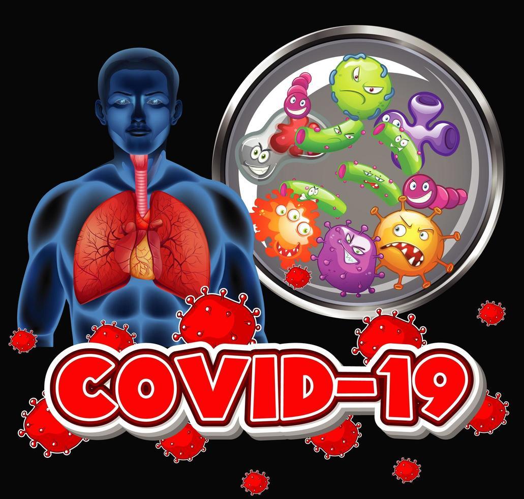 Coronavirus theme with human and virus cells vector